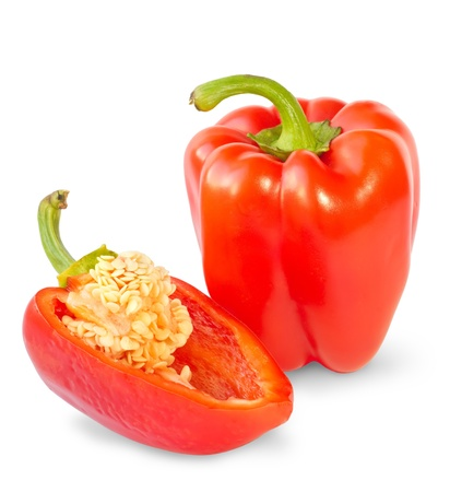 Two red sweet peppers isolated on white background Stock Photo - 15805455