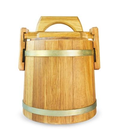 oak barrel: Wooden oak barrel, isolated on white background