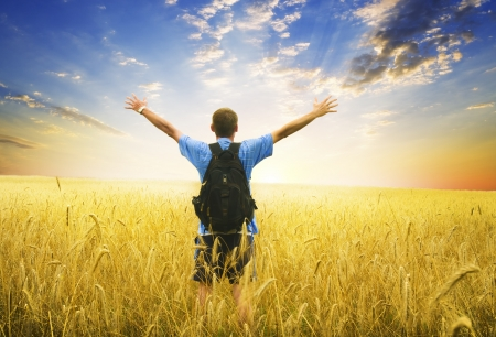 enjoy life: Man in yellow wheat meadow  Conceptual design  Stock Photo