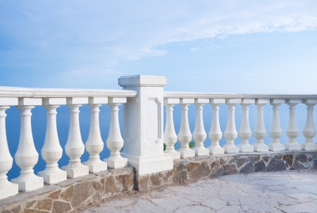 Kind on ocean from a stone balcony Stock Photo - 20162958