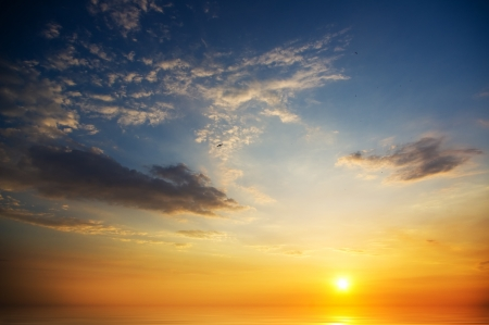 Beautiful sunset above the sea  Nature composition