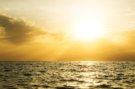 ocean sunset: Sky background and sea on sunset. Nature composition. Stock Photo