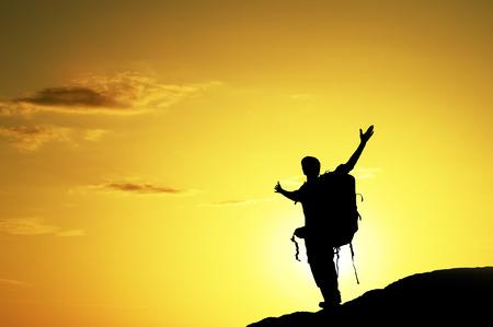 steiermark: Man on top of mountain. Conceptual design. Stock Photo