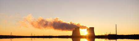 temelin: Nuclear power plant and sunrise sky background Stock Photo