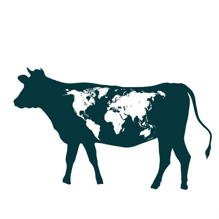 The world map on one side cows photo