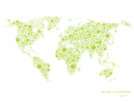green world: World map green dotted isolated on white background