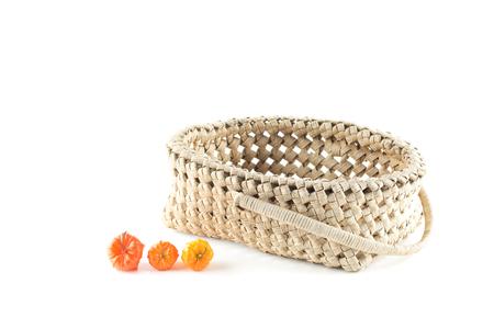 paper basket: texture of empty  beige paper basket and physalis