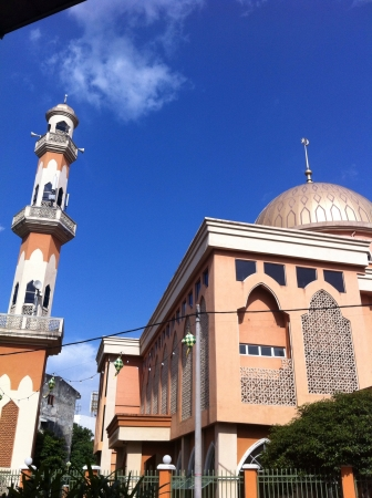 The mosque with blue sky background
