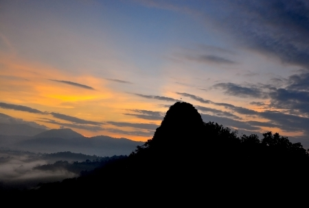 Top view of sunrise at tabur mountain