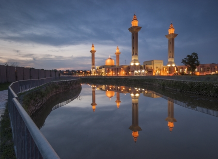 Sunset view at tengku ampuan jemaah mosque Stock Photo