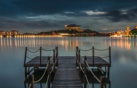 Blue hour at lake view putrajaya