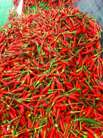 The display of chili on wet market