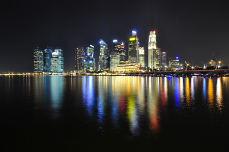 Colorful night skyline,Singapore