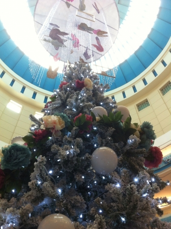 Christmas tree decoration indoor shopping mall.