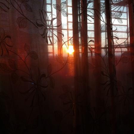 Puesta de sol vista desde el balc�n. Foto de archivo