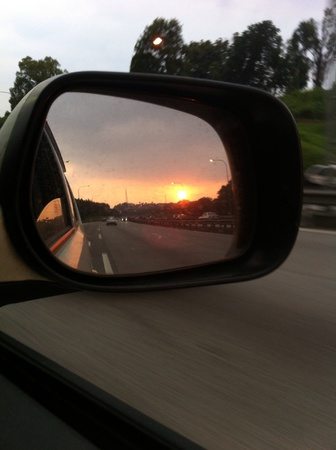 Sunset reflection,cars side mirrors