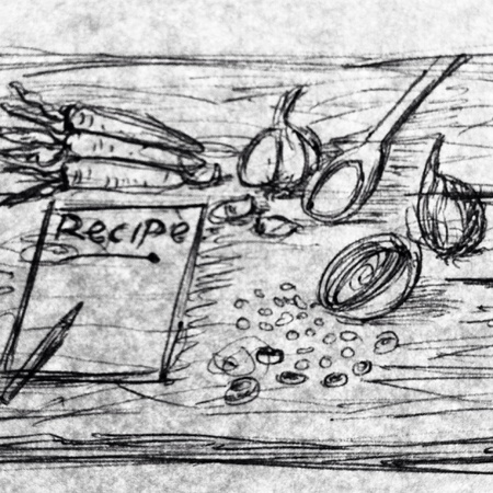 Pencil Sketch Recipe Or Ingredient Concept.Carrot,Onions And Spoon With Wood Background.