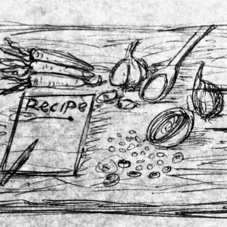 Retrato a l�piz de la receta o el ingrediente Concept.Carrot, cebollas y cuchara con el fondo de madera.