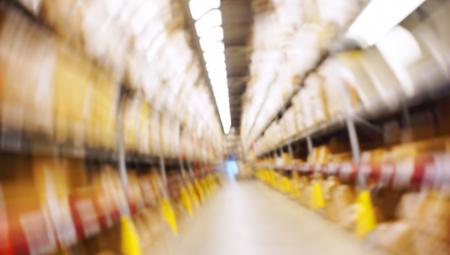 Motion Blurred Image Inside A Modern Warehouse.