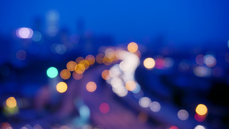 Blur image of Kuala Lumpur with circle bokeh background Stock Photo