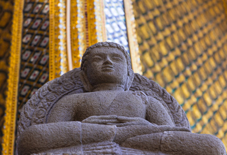 emerald stone: Statue made of stone in the temple of the Emerald Buddha in Thailand