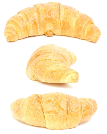 fresh croissant on white background. isolated. collage