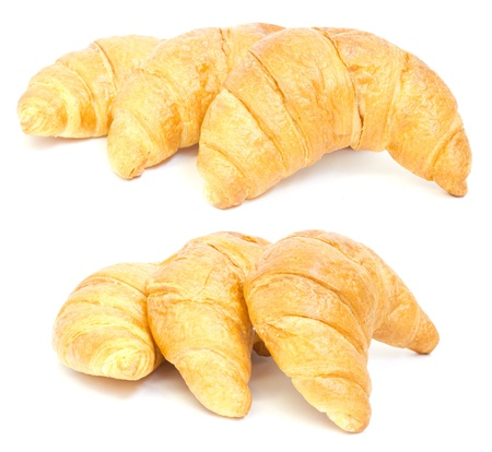 three croissant on white background. isolated. collage