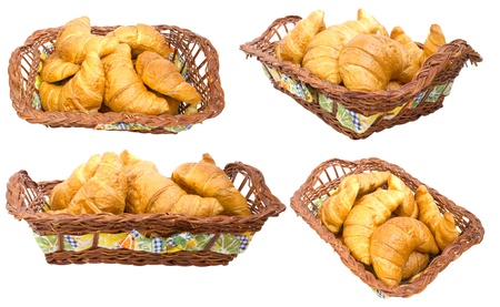 Group croissants in a basket. isolated. collage