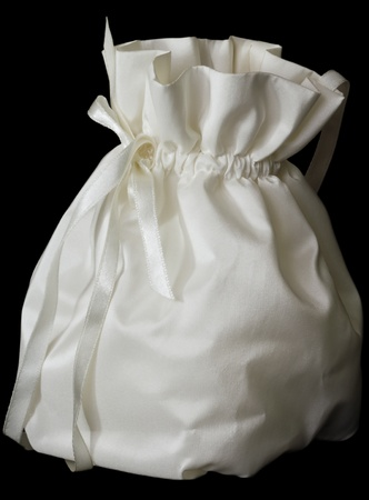 wedding bag on a black background closeup