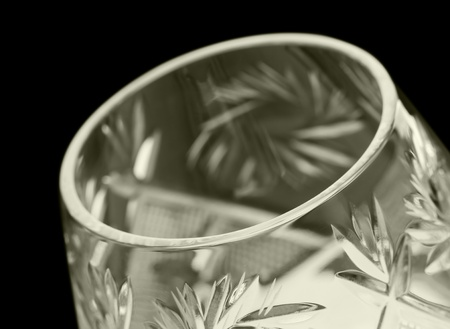 faceted glass on a black background. closeup Stock Photo