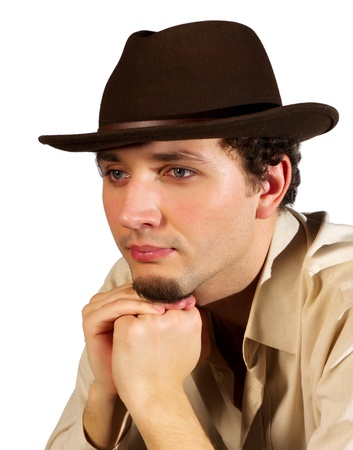 Portrait of a Man with a hat on a white background