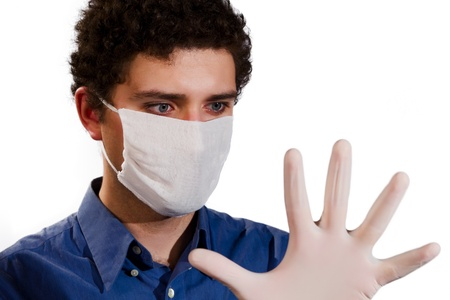 young doctor in medical gloves