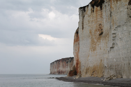 famous: The famous cliffs of Normandy Stock Photo