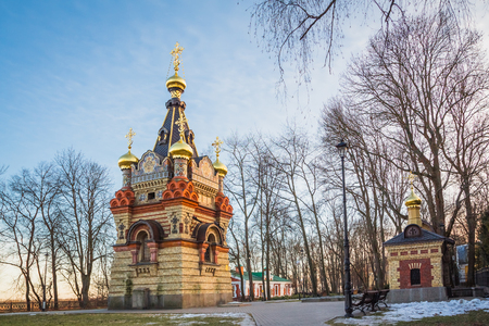 no snow: Chapel-tomb Paskevich as part of Gomel Palace and Park Ensemble. Belarus