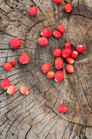 'wild strawberry: Top view of a handful of ripe berries of wild strawberry on a background of a wooden surface Stock Photo