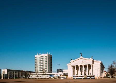 lenin: Gomel, Belarus - March 27, 2016: Gomel Drama Theater on Lenin Square with city transport