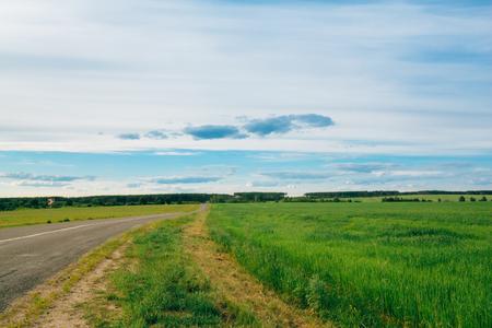 open country: Landscape open empty asphalt highway, road, freeway.  Highway Country Road In Countryside. Travel Road Concept