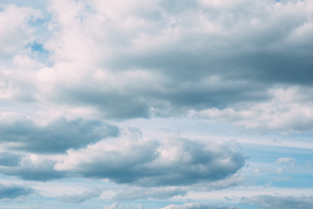 tightened: Beautiful summer sky tightened by cumulus clouds. Nobody Stock Photo
