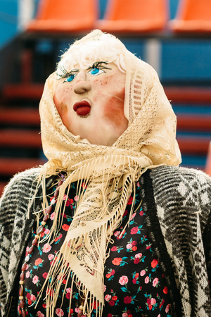 Scarecrow in the form of a woman. Attribute Slavic folk festival - Maslenitsa. The burning of an effigy symbolizes the farewell to winter and the arrival of spring Stock Photo