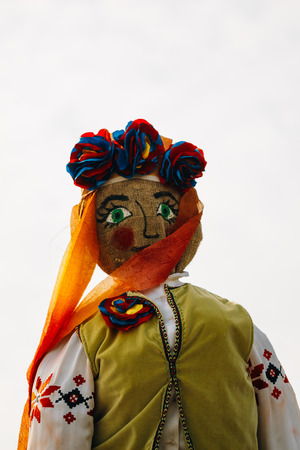 Rag doll face, Scarecrow Maslenitsa. Winter symbol among the Slavic peoples on holiday Shrovetide