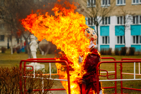 effigy: The traditional burning of scarecrow symbolizing the farewell to winter