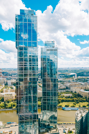 megapolis: Moscow, Russia - August 16, 2016: Two skyscrapers of Moscow City complex. Tower - Moscow, Tower - St. Peterburg