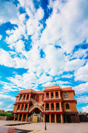 Village of Petrovo, Russia - August 21, 2016: The building in east style theme park on a background of a beautiful sky