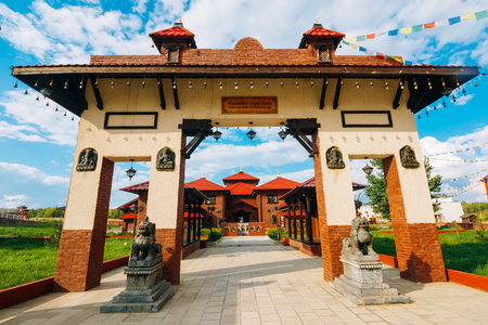 Village of Petrovo, Russia - August 21, 2016: Structures in the amusement park in the Nepalese style