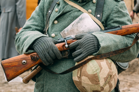reenactmant: Uniforms and weapons of the Nazi soldiers. Reconstruction Stock Photo
