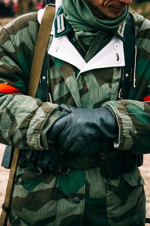 reenaction: Soldier of the German army in uniform