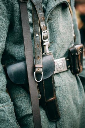reenactmant: Leather holster of black color