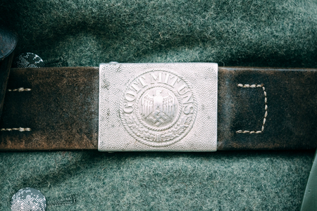 reenactmant: Buckle belt Nazi during the Second World War with the Gott Mit Uns(God with us) inscription. Reconstruction