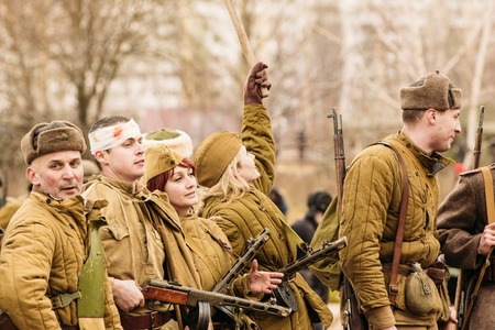 world war ii: Soldiers of the Red Army after the battle. Reconstruction in the Editorial