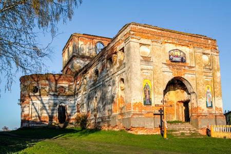 popular: Orthodox church in ruins in Belarus. Gomel Stock Photo